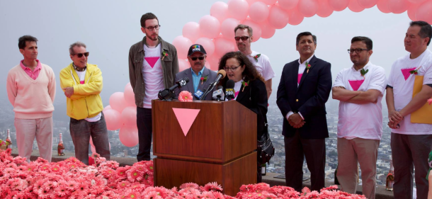 Melanie Speaking at 2014 installation of Pink Triangle with Mark Leno, San Francisco Mayor Ed Lee, Patrick Carney, Jose Cisneros and David Campos.