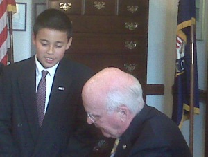 JAshley with senator leahy after the hearing