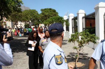 Ndumie Funda and Melanie Nathan walk into Parliament with 200,000 Signatures