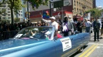 My daughter marching with Ugandan Bishop Senyonjo, San Francisco Pride