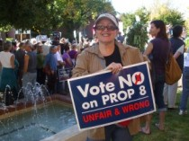 Melanie at Prop 8 rally in 2008.