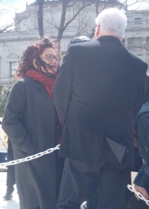 Melanie chats with Cleve Jones after his closing remarks...