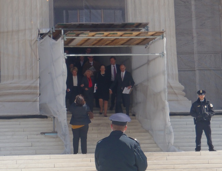 It was Edie Windsor's DAY , Plaintiff in SCOTUS DOMA CASE leaves the Court flanked by lawyers