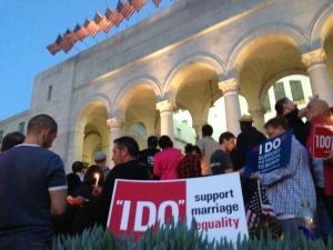 Los Angeles vigil at City Hall. Photo courtesy John Carroll.