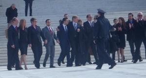 plaintiffs and lawyers leaving the court house