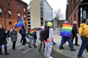 Grand Rapids, Michigan: about 140 people marched pushing for the U.S. Supreme Court to strike down laws against gay marriage.