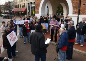 Vigil highlights local dissent over Defense of Marriage Act. Fayetteville, NC