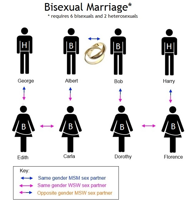 Chart depicts Scott Lively's version of marriage involving Bisexual persons (By C. Kristofferon for O-Blog-dee © 2013)