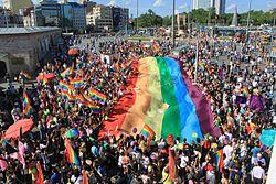 Istanbul LGBT pride parade in 2011, Taksim Square, Istanbul.