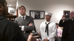 FDL-Isaac-Brown-and-JoeAnthony-Rodriguez-Veteran-in-Uniform-speak-with-Ben-Stratmann-while-Chaplain-Robert-Hall-records-Kit-OConnell