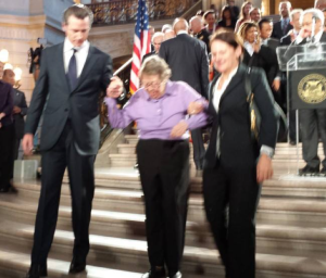 Phyllis Lyon Living Legend amongst LGBT activists given a hand by Lt. Gov Gavin Newsom