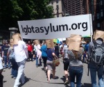 Cathy Kristofferson marching in Boston Pride