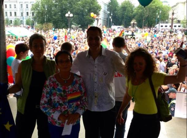 Stuart Milk's Facebook Page View right now from the stage at Baltic Pride - Hope winning over hate . The eggs that hit us were at least fresh - they could have thrown rotten one With the MEPs — at Vilnius Old Town.