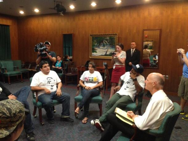 @fineout Gary Fineout In his meeting @FLGovScott is hearing about racial profiling from @Dreamdefenders