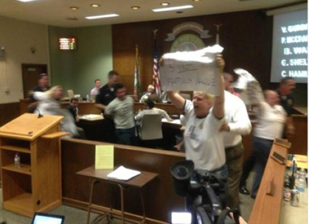Robin McGehee Protest hate of Porterville City Council