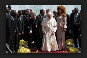 Cameroon President Paul Biya and his wife with the ex- Pope