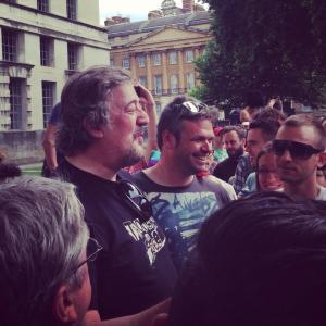 Photo courtesy Gaydar - @stephenfry at the London protests against #LGBT human rights abuses in #Russia