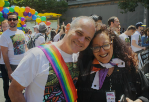 Neil Gungras, Founder of Oram with Melanie Nathan at San Francisco Pride