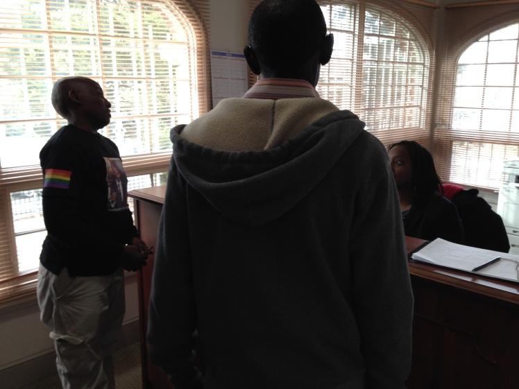 Asking to speak to the Ambassador. Photo courtesy Ellen Sturtz