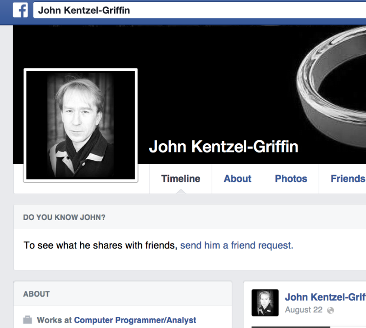 John's Facebook Page from whence the lovely message launched its pretty self.