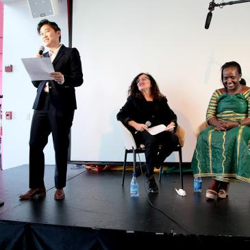 Michele Meow of Swirl radio who moderated the event, with Nathan and Sempala.