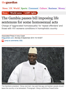 The Gambia, President who is against LGBT, calling them vermin, Anti-Homosexuality, gay