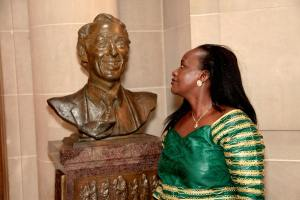 Hon.Sempala and City Hall bust of Harvey Milk