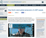 Center for Constitutional Rights, SMUG, Uganda, Scott Lively, LGBT fights criminlaization Anti Homosexuality legislation