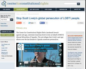 Center for Constitutional Rights, SMUG, Uganda, Scott Lively, LGBT fights criminlaization Anti Homosexuality legislation