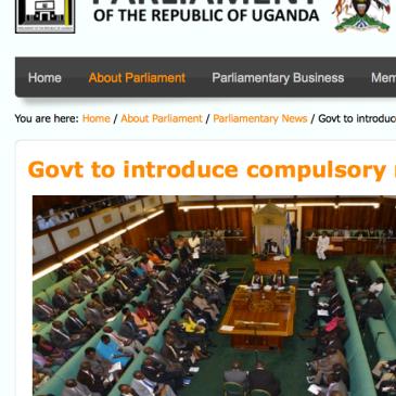 Ugandan Parliament Compulsory Registration of Persons Bill