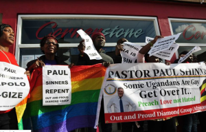 "Out and proud Diamon Group Protest Paul Shinners at Cornerstone Cafe, Is this a Christian ""CURE"" Shop?"