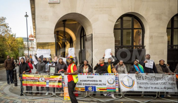 OUT AND PROUD Diamond Group protest  Ugandan President Yoweri Museveni, outside Savoy Hotel in London