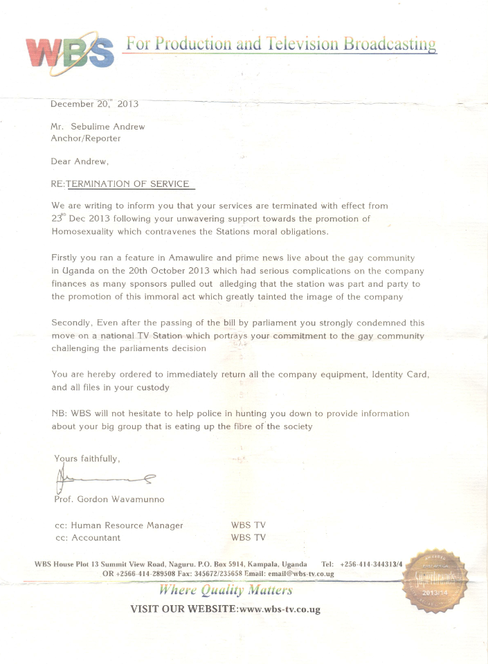 Andrew Subilime termination letter