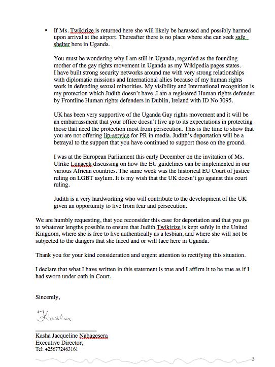 Kasha Letter to UK Home office Judith