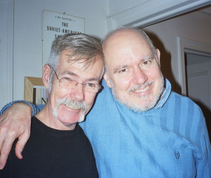 1st Attached photo depicts the late Stonewall riots witness, Danny Garvin (left) and Stonewall historian, David Carter (right).