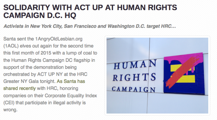 http://oblogdeeoblogda.me/2015/01/31/solidarity-with-act-up-at-human-rights-campaign-d-c-hq/