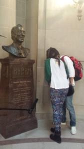 Mari and Cara at Harvey Milk bust at San Francisco City Hall.