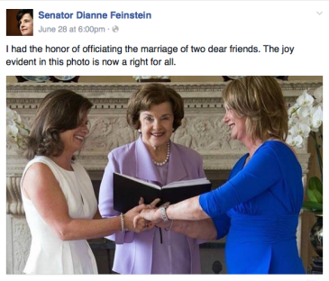 Sen. Feinstein officiates at   same-sex couple friends wedding.