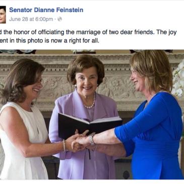 Sen. Feinstein officiates at same-sex couple friends wedding.