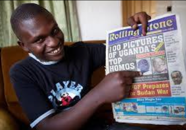 HERE IS GILES MUHAME, Rolling Stone Editor who is seen bragging about the publicaiton that caused the death and severe persecution of Ugandan LGBT people or some perceived as LGBT.   Muhame is a friend of Agenonga and they are still conspiring, according to Agenonga.
