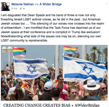 Melanie screenshot of LGBT TASK FORCE JEW ban