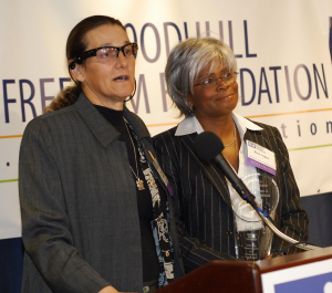 Martie Rothblatt and wife Bina receiving sexuala freedom award