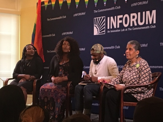 #SFPRIDE and Commonwealth Club InfoForum with Alicia Garza #BLM Co-Founder, St James Infirmary's Aria SA ID, Darnell Moore, and Barbara Smith Photo: melanie Nathan