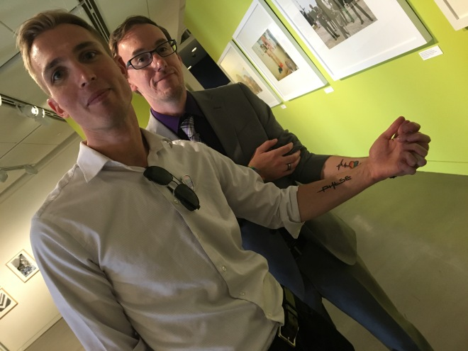 Preparing for Pride this year with Kent Anderson, Pride deputy ED, and partner meant remembrance tattoo for Orlando
