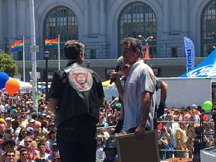 STATE SENATOR MARK LENO PRESENTS PROCLAMATION to Dykes on Bikes for 40 years of leading the SF Pride parade