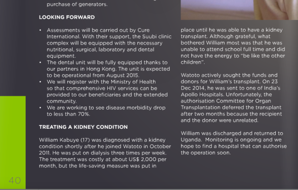 watato admits in Annual report to transplant case